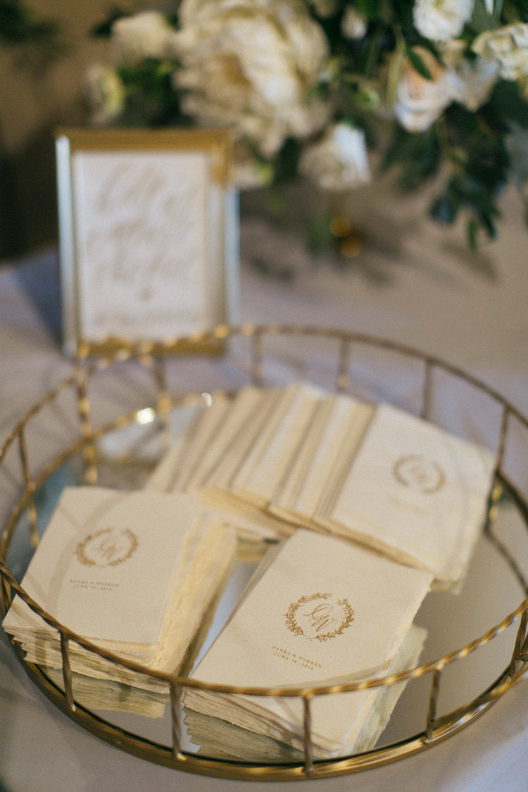 dusty blue and gold invitations