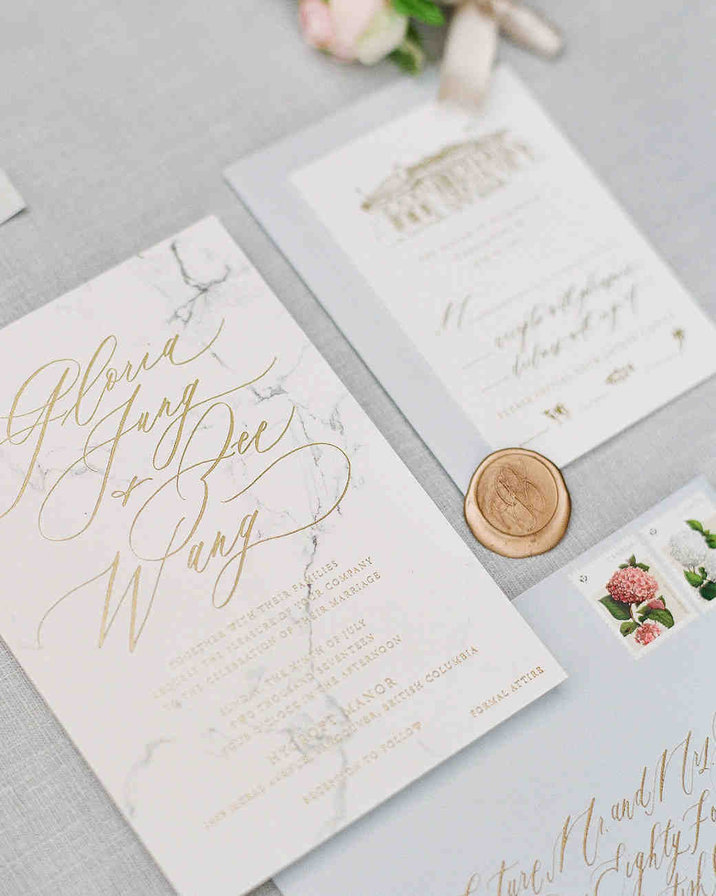 elegant marble and gold invitations