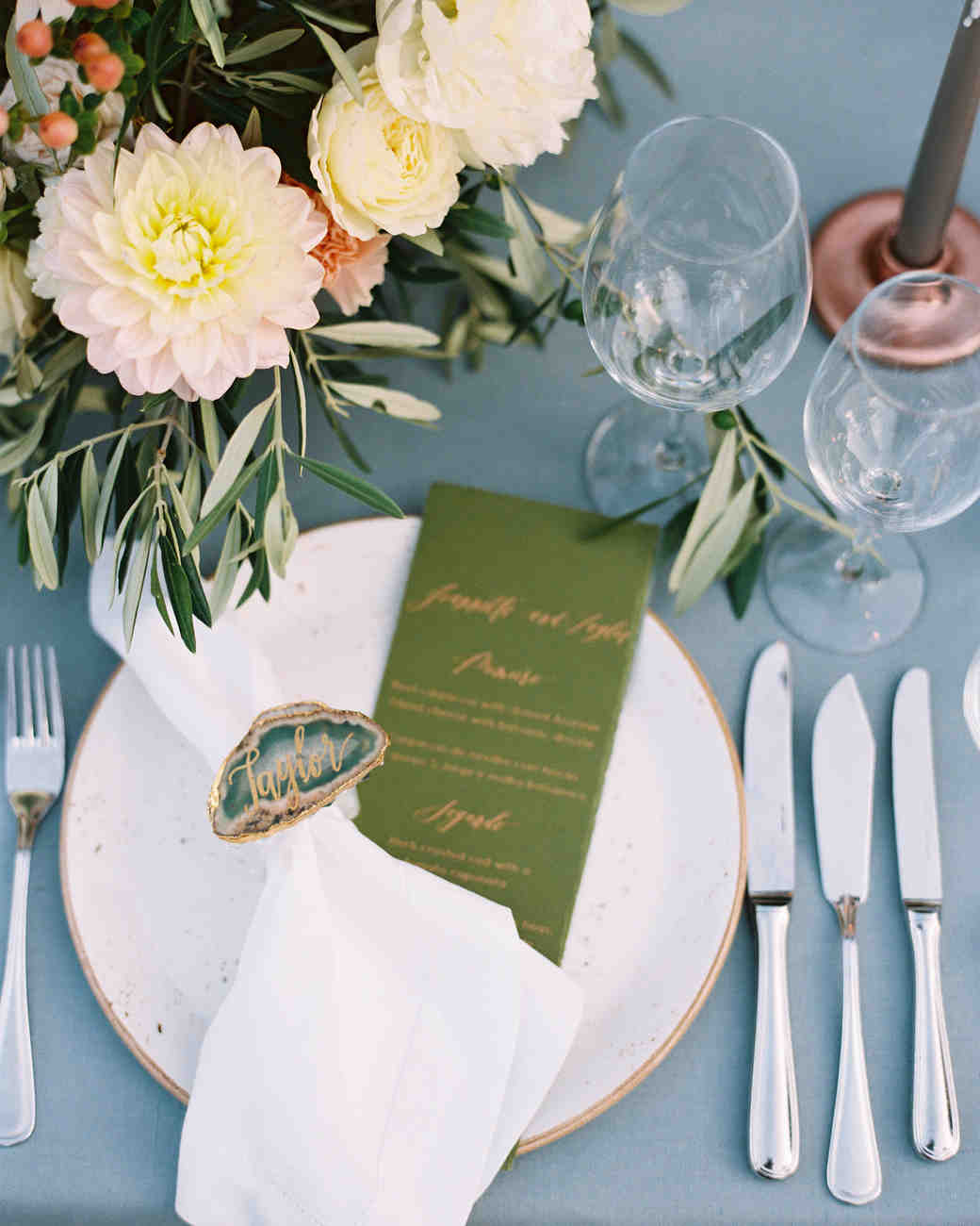 Spot Calligraphy for Copper and Green Wedding Stationery