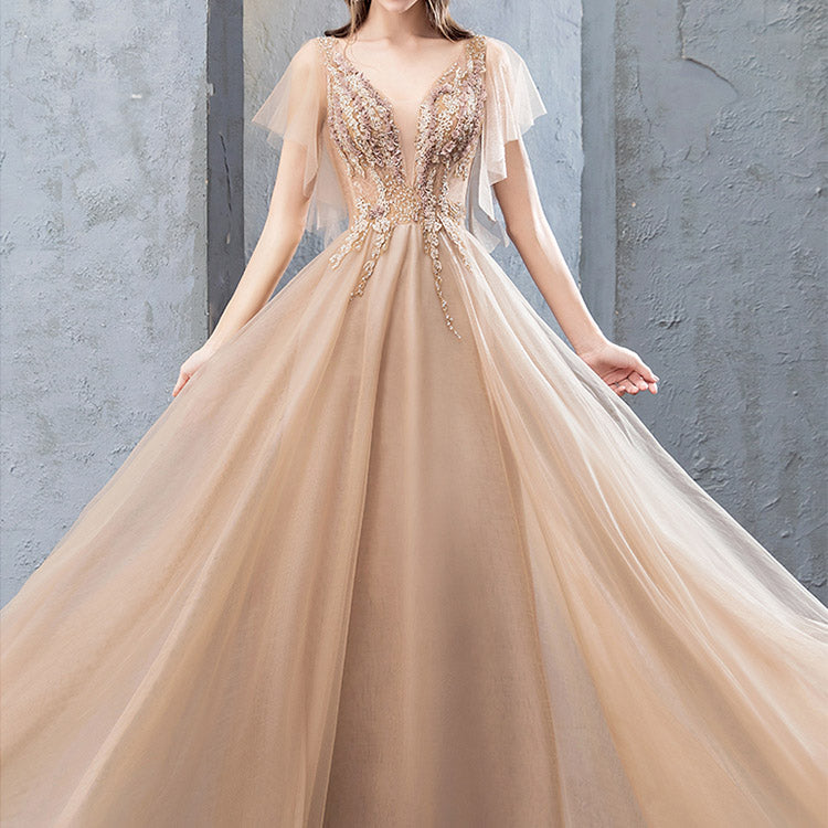 #6085 Golden noble banquet dress ( New Arrivals )