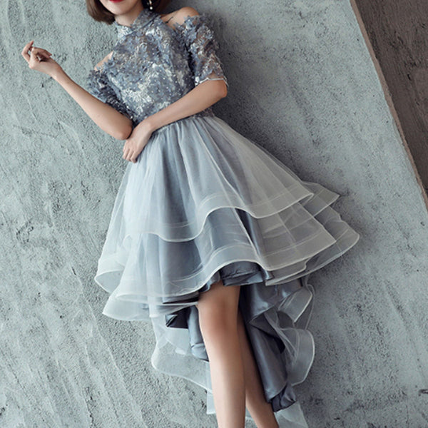 #6171 Short in front and long sections of gray party dress ( New Arrivals )