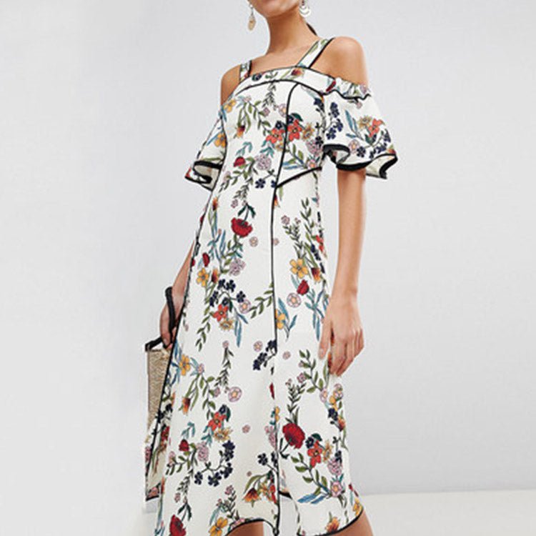 #6401 Floral printed suspender dress ( 70% OFF SALE )