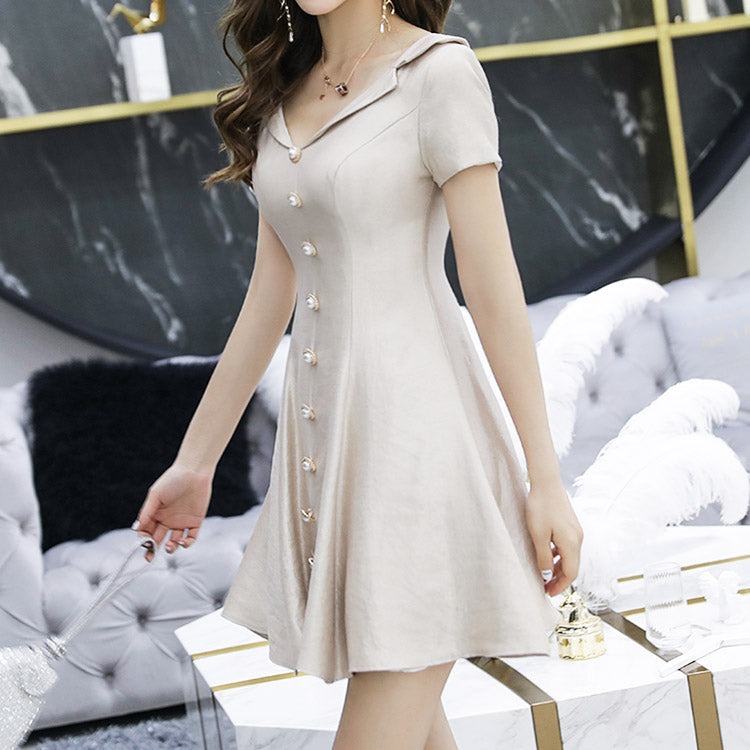 #6417  Deep V-neck simple and generous dress ( New Arrivals )