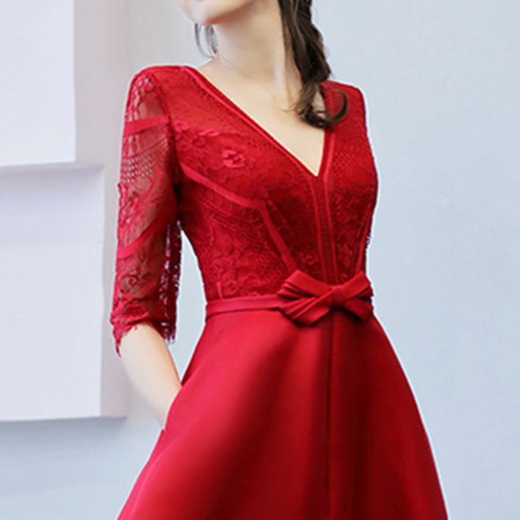 #6421 Deep V-neck embroidered dress ( New Arrivals )
