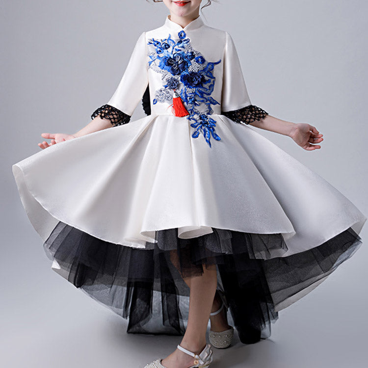 #K30018 Stand collar Chinese evening dress (Kids)