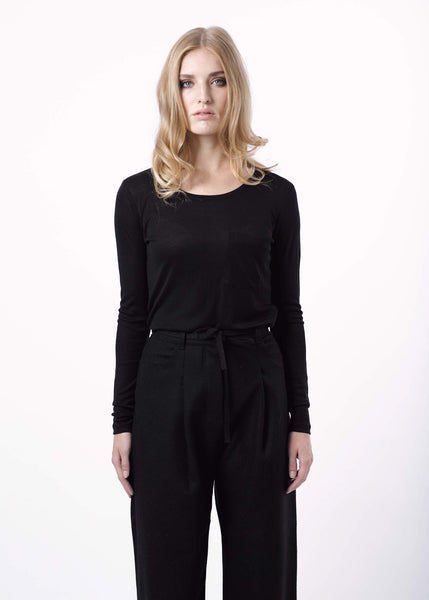 Eli Rib Top in Black