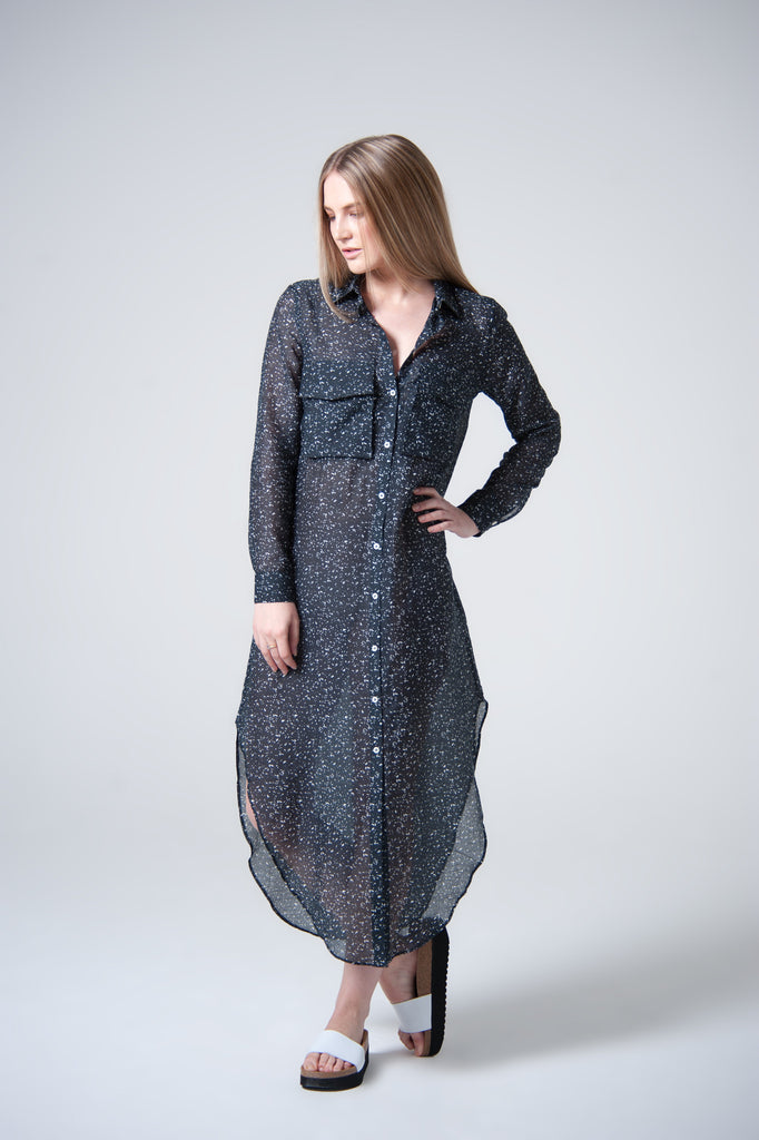 Shago Splash Print Silk Navy & White Shirt Dress