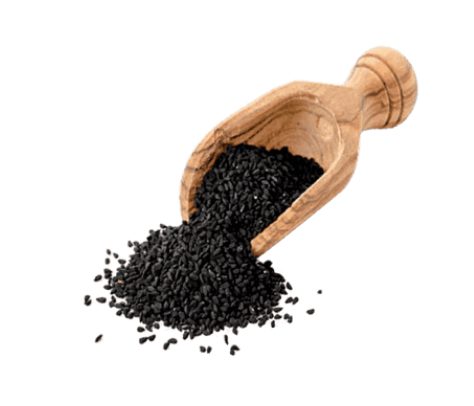 A picture of Black Seed, a primary ingredient of C60 Complete Black Seed Oil and Curcumin Antioxidant.