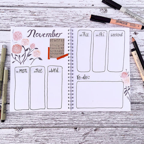 weekly journal spread inspiration