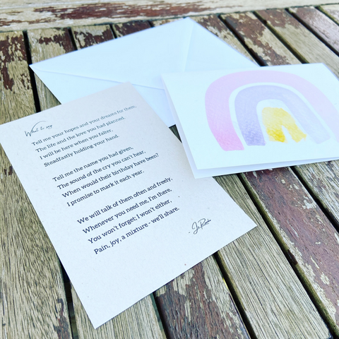What to when someone has a miscarriage verse for miscarriage card with pink rainbow form Willow & Weeds