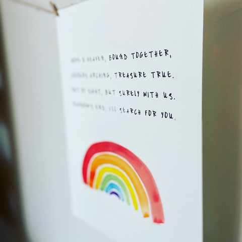 What to say when someone has a miscarriage - photo features A4 miscarriage remembrance print with verse and bright rainbow by Willow & Weeds