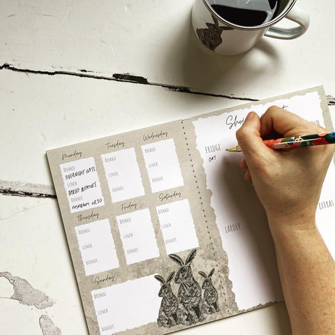 Meal planner with tear off shopping list