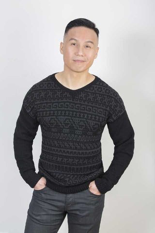 BD Wong wears James Cox Knits Carl Sweater
