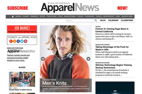 James Cox Knits on cover of Apparel News