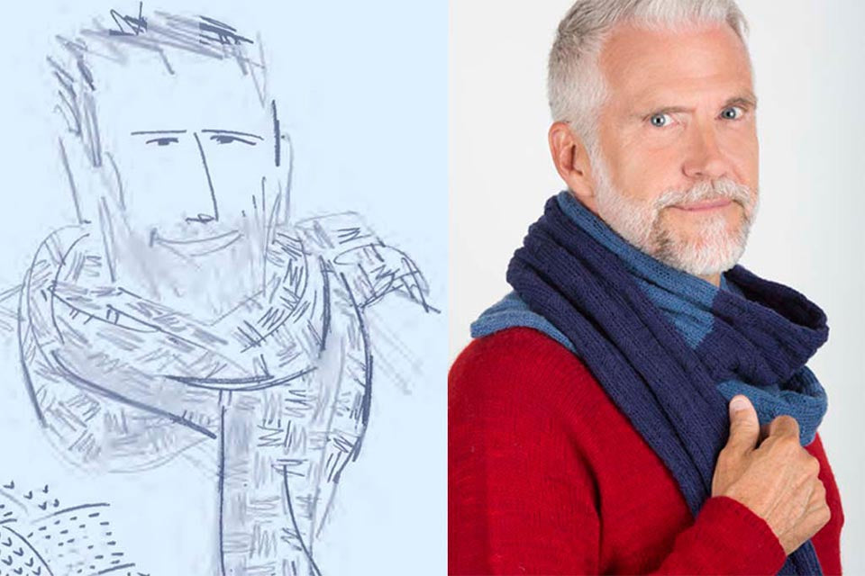 James Cox Knits Sweater Sketch and Photo