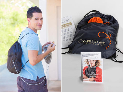 Backpack-style project bag in two views: on model and showing contents - James Cox Knits