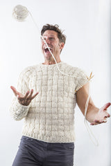 Hayes Ski Sweater in white chocolate on model – James Cox Knits