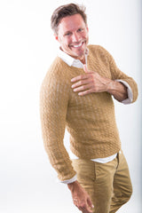 Gabriel Cabled V-Neck sweater in sandstone on model – James Cox Knits