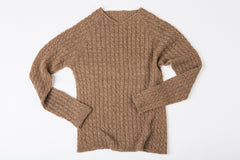 Gabriel Cabled V-Neck sweater in sandstone – James Cox Knits