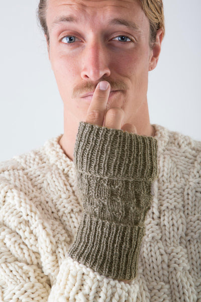 Keith Fingerless Gloves in Taupe on model wearing Hayes Ski Sweater – James Cox Knits