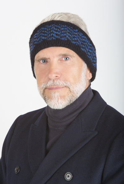 Jim Reversible Ear Warmer on model in Black & Denim Blue w/ chevron band – James Cox Knits