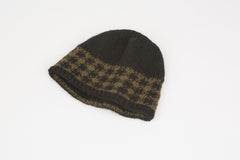 Jim Reversible Hat in Mocha & Tan w/ gingham checked band – James Cox Knits