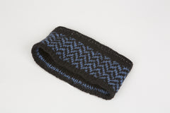 Jim Reversible Ear Warmer in Black & Denim Blue w/ chevron band – James Cox Knits