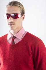 Kurt Cashmere Pullover sweater in Seeing Red – close-up w/ red herringbone shirt & tie – James Cox Knits