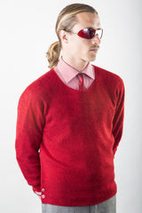 Kurt Cashmere Pullover sweater in Seeing Red on model w/ red herringbone shirt & tie – James Cox Knits