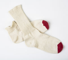 Bobby Gym Socks in Natural w/ Really Red toe – James Cox Knits