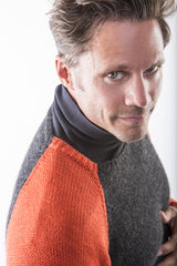 Brian Sporty Crewneck sweater shoulder detail on model – James Cox Knits