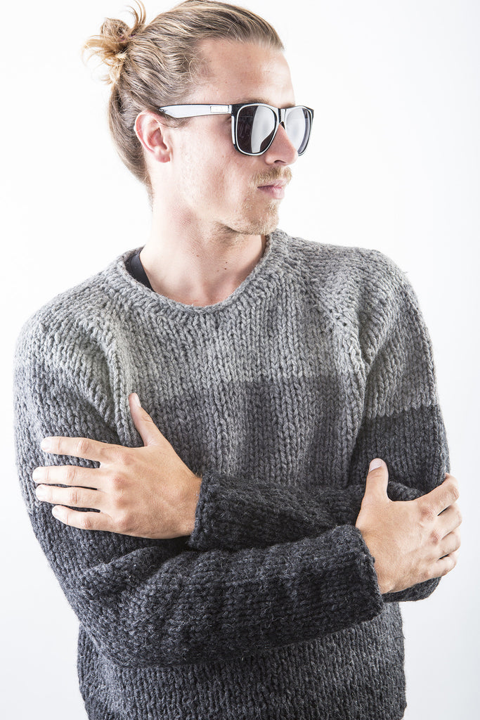 Rodney Wooly Sweater in Grey/Black on model over T shirt – James Cox Knits