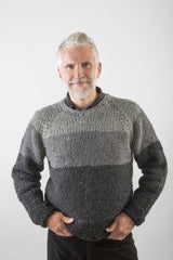 Rodney Wooly Sweater in Grey/Black on model w/ flannel shirt – James Cox Knits