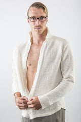 Robert Linen Dress Shirt in White on model – open with no shirt – James Cox Knit