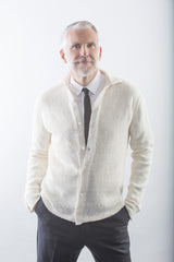 Robert Linen Dress Shirt in White on model - buttoned over dress shirt and tie – James Cox Knits