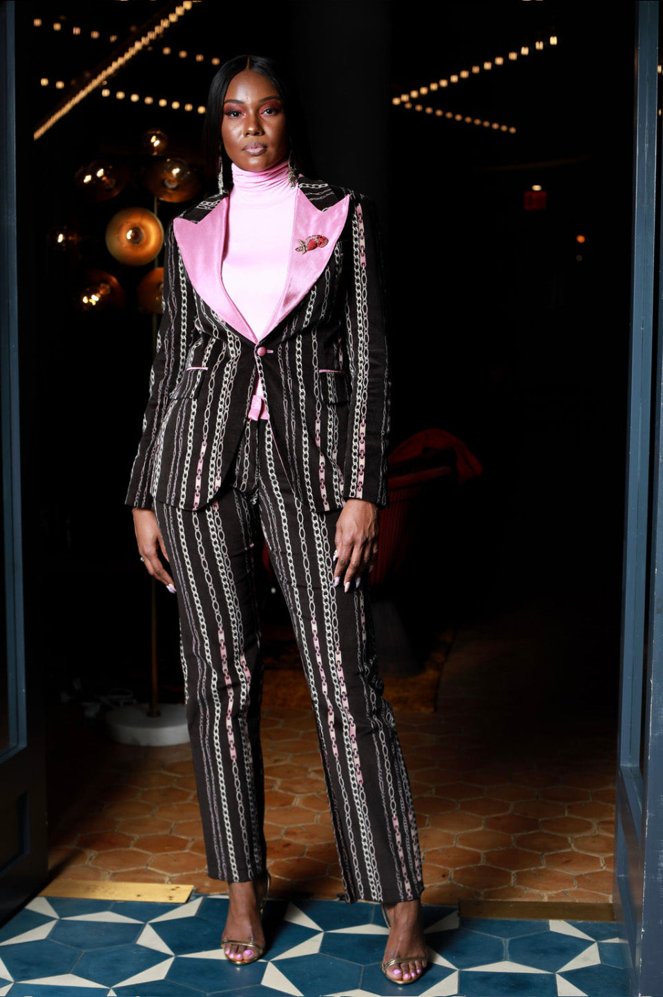 Pink and Black Chain Print 2 piece Tuxedo
