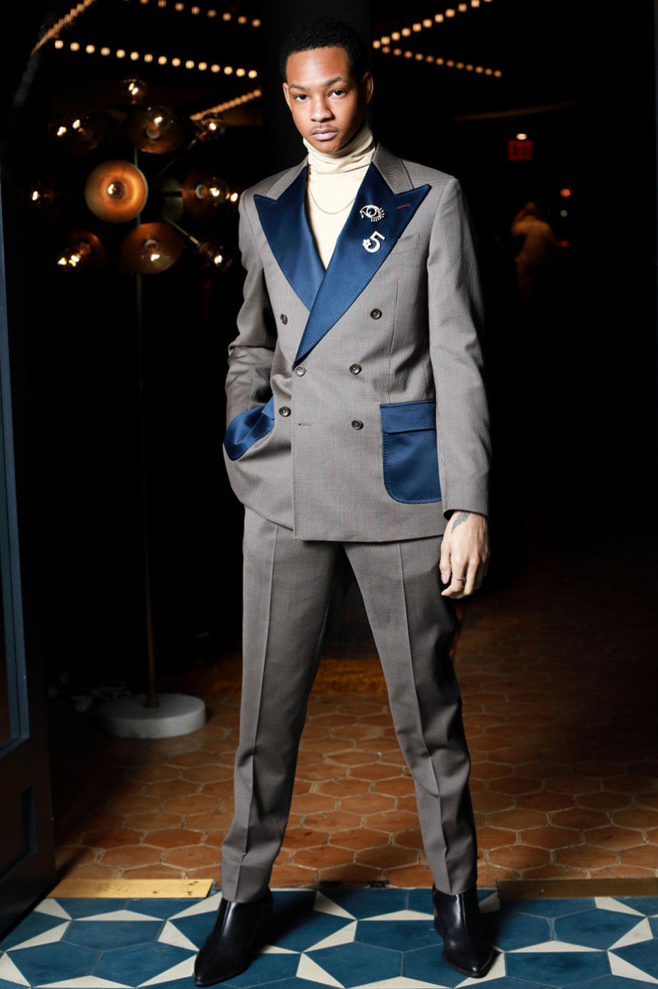 Grey and Navy Double Breasted 2 Piece Suit