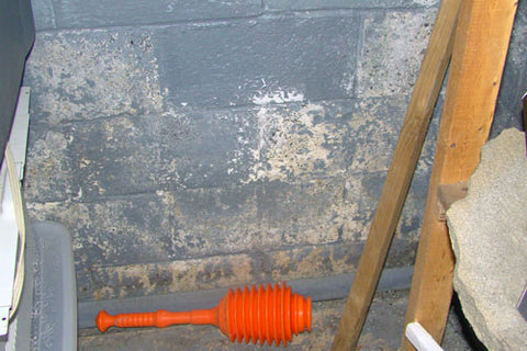 A basement wall covered in several layers of latex waterproof paint that is peeling and showing concrete and efflorescence underneath