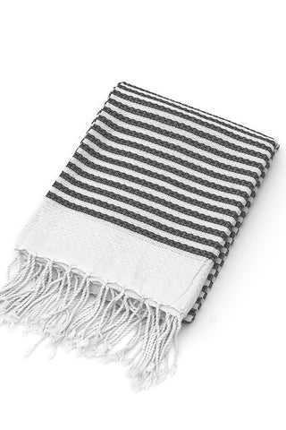 Organic Cotton Tunisian Towel (Black Stripe)