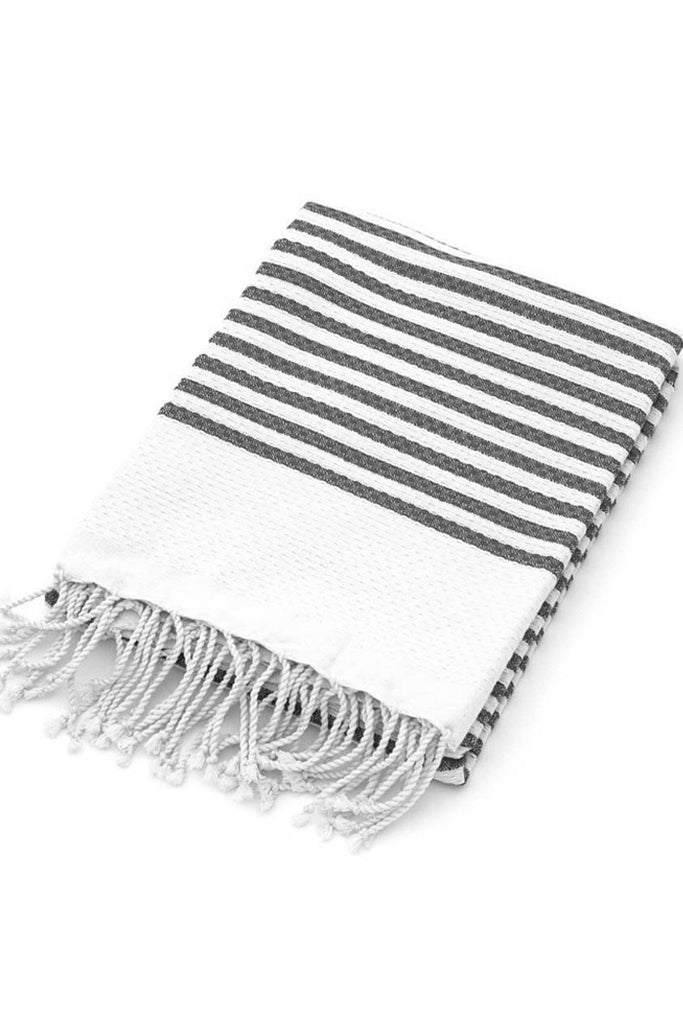 Organic Cotton Tunisian Towel (Grey Stripe)
