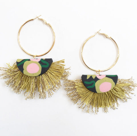 Handmade Layered Fringe Earrings - CHARTREUSE