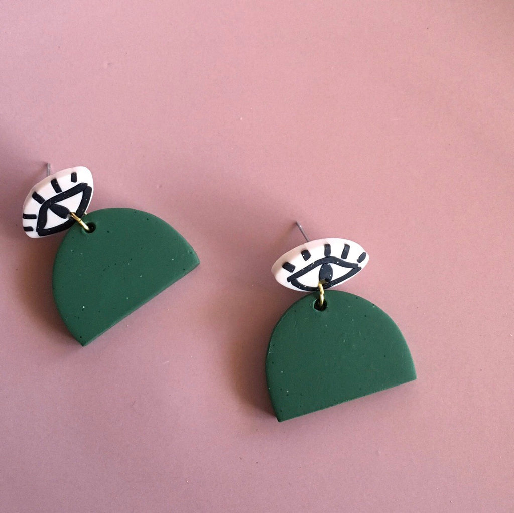 Handmade Evil Eye Earth Earrings - FOREST GREEN