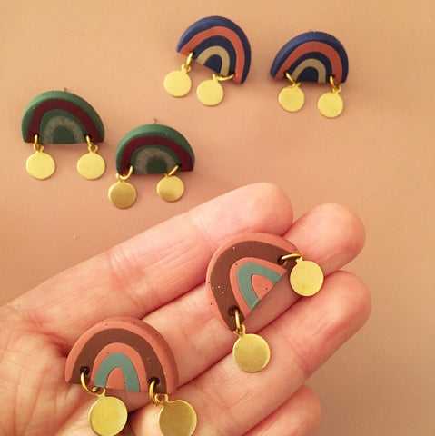 Handmade Rainbow Earth Earrings - TERRACOTTA PINK