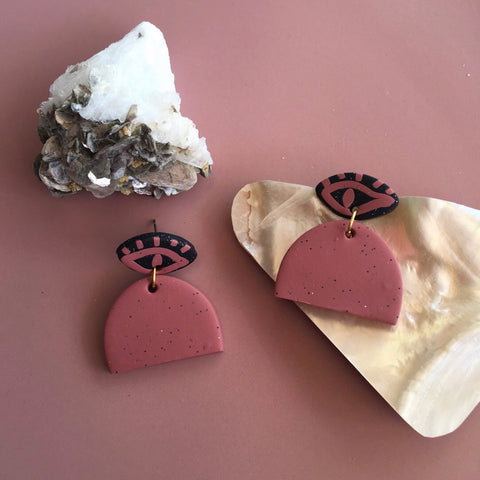 Handmade Evil Eye Earth Earrings - DUSTY PINK