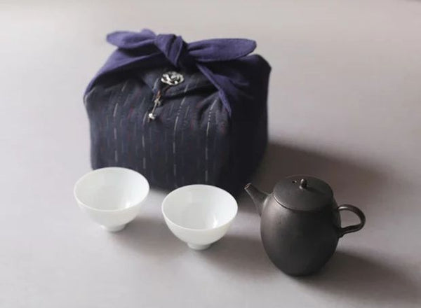 Navy Blue Embroidered Cloth Carrying Case for your Teapot and Cups