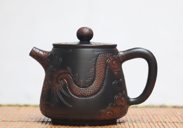 "Jian Shui Clay ""Dragon"" High Shi Piao Teapot by He Shang"