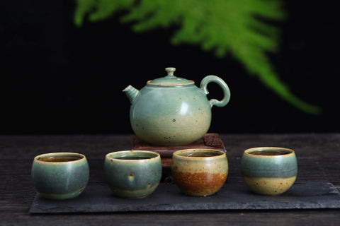 "Fei Cui Glazed ""Turquoise Desert"" Bug Bitten Teapot and Cups"