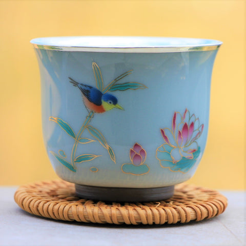 """Lotus Pond Scene"" Pure 999 Silver and Porcelain Cup"