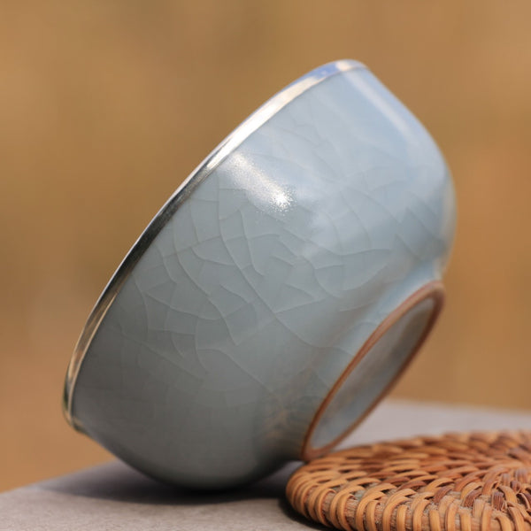 """Blue Ge Yao Celadon"" Pure 999 Silver and Porcelain Cup"