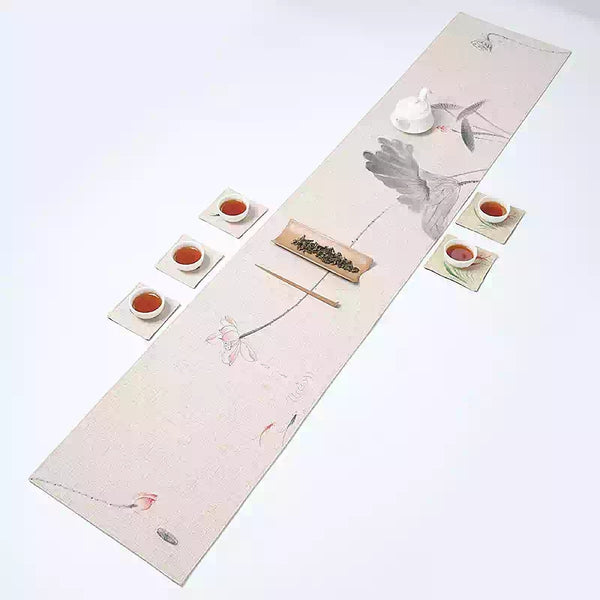 "Cha Bu Gong Fu Ceremony ""Lotus on Cream"" Tea Cloth"